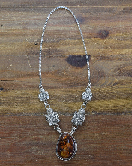 Vintage Southwestern Sterling Silver and Amber Storyteller Necklace