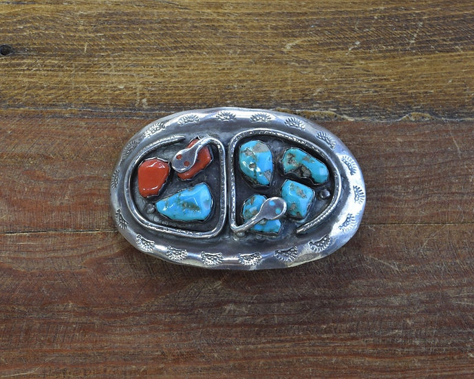 Vintage Zuni Sterling Silver Turquoise and Coral Snake Belt Buckle G. Calavaza