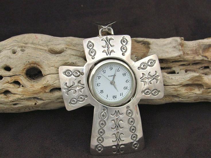 Sterling Silver Watch Cross Pendant