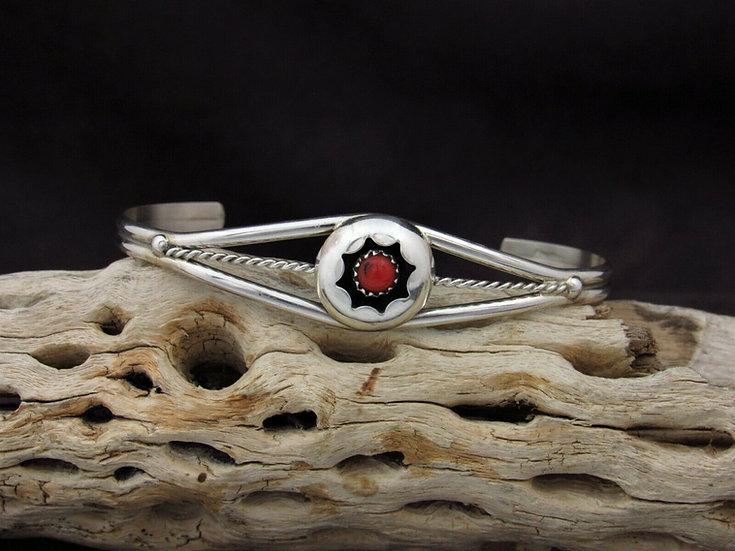 Southwestern Sterling Silver Coral Shadowbox Cuff Bracelet