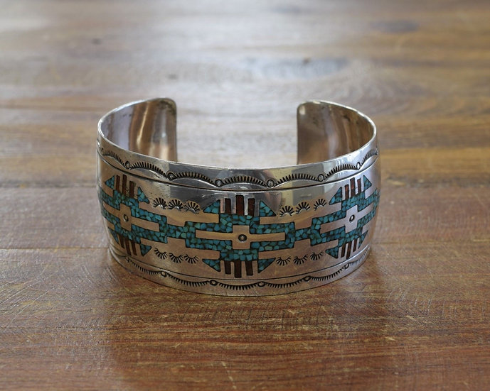 Vintage Sterling Silver Turquoise and Coral Chip Inlay Cuff Bracelet
