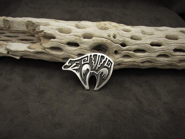 Southwestern Sterling Silver Overlay Bear Pin