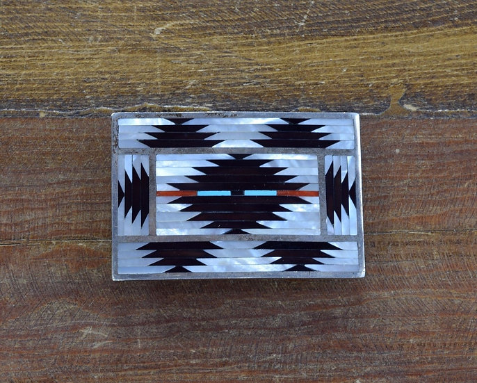 Vintage Zuni Multi-Stone Inlay Sterling Silver Belt Buckle