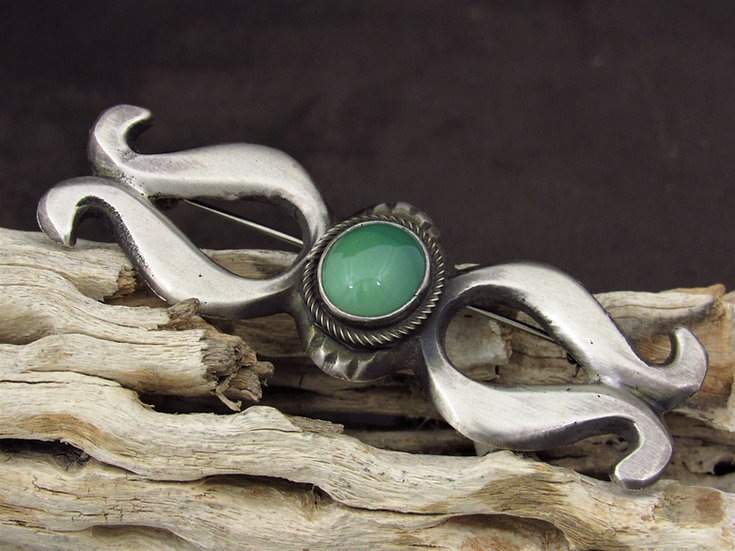 Navajo Turquoise Satin Finish Sterling Silver Pin by Pete Morgan