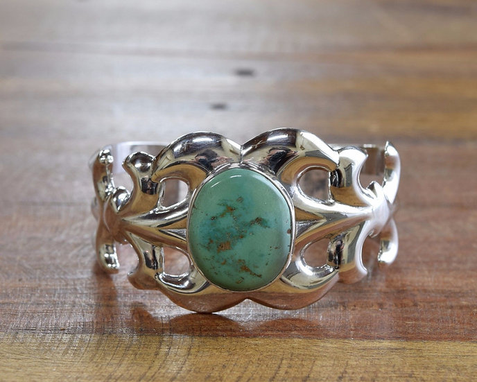 Sterling Silver and Turquoise Navajo Cuff Bracelet Signed WA
