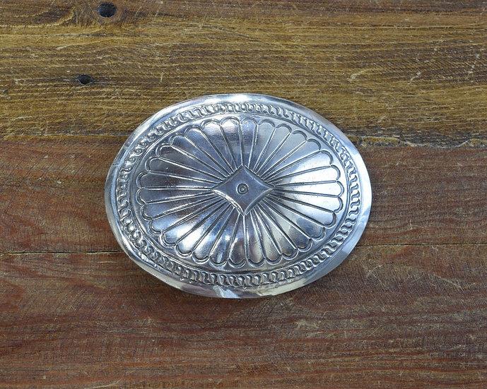 Southwestern Sterling Silver Stamped Concho Belt Buckle