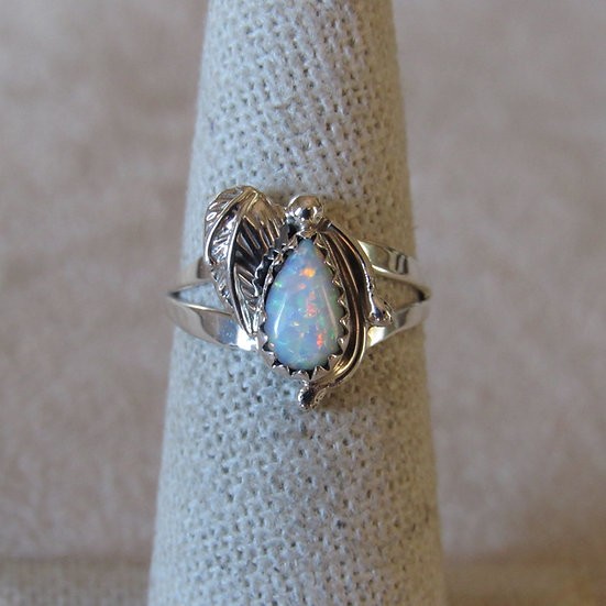 Sterling Silver and Lab Created Opal SRing By Lee Shorty Size 5.75