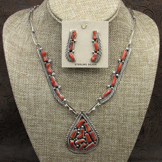 Beautiful Navajo Coral Necklace And Earrings Set By Darlene Begay