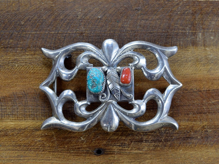 Vintage Navajo Turquoise and Coral Sandcast Sterling Silver Belt Buckle