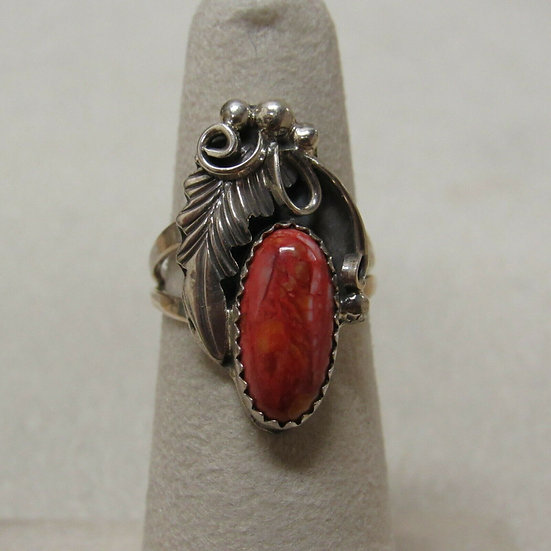 Southwest Sterling Silver and Spiny Oyster Shell Ring Size 5 1/4