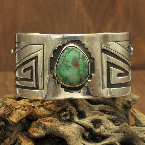 Southwest Sterling Silver and Green Turquoise Vintage Bracelet