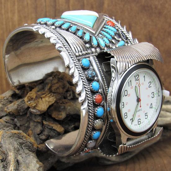 Vintage Navajo Multi Stone Sterling Silver Watch Cuff Bracelet by Francis Begay