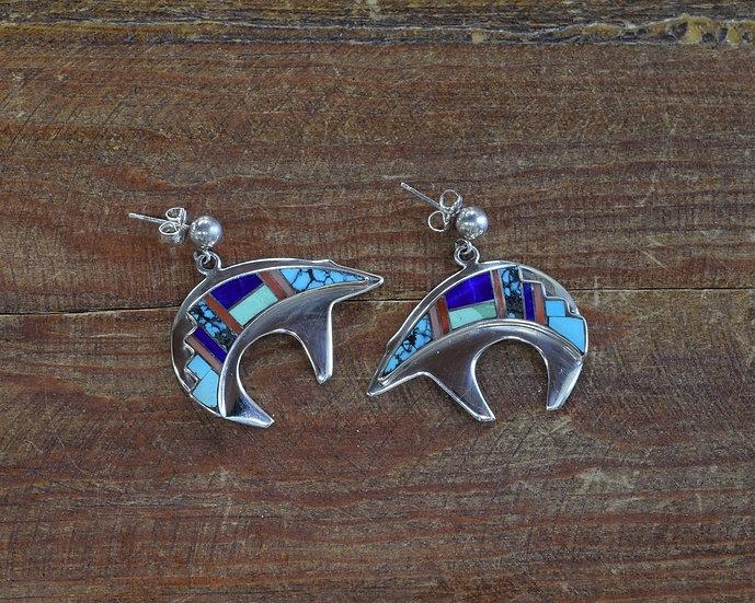 Vintage Navajo Sterling Silver Multi-Stone Inlay Bear Earrings by Rick Tolino
