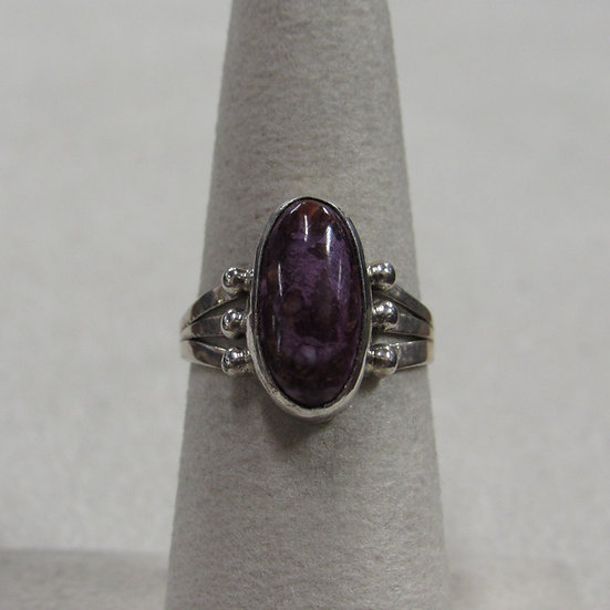 Southwest Sterling Silver and Purple Stone Ring Size 6