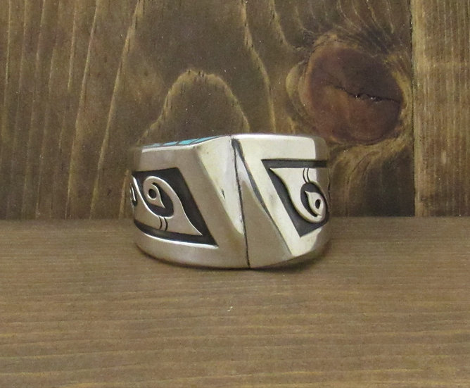 Unique Vintage Sterling Silver Water Design Overlay Cuff with Turquoise