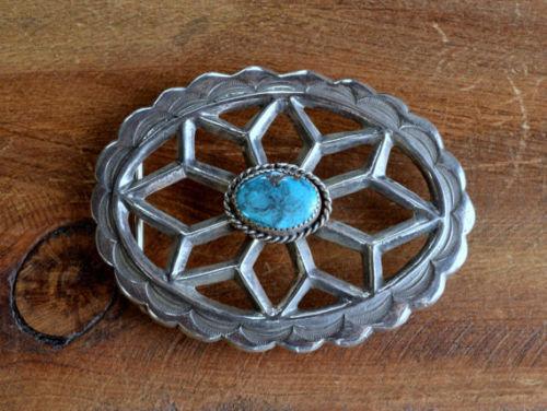 Vintage Sterling Silver Turquoise Sandcast Belt Buckle