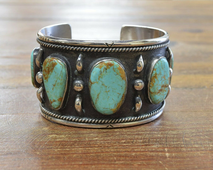 Vintage Sterling Silver and Turquoise Wide Cuff Bracelet