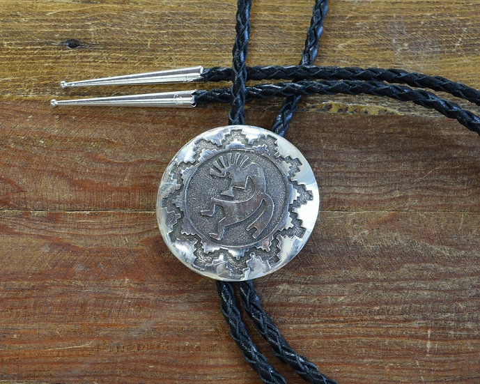 Southwestern Sterling Silver Kokopelli Overlay Bolo Tie
