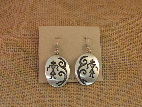 Navajo Sterling Silver Oval Brushed Earrings