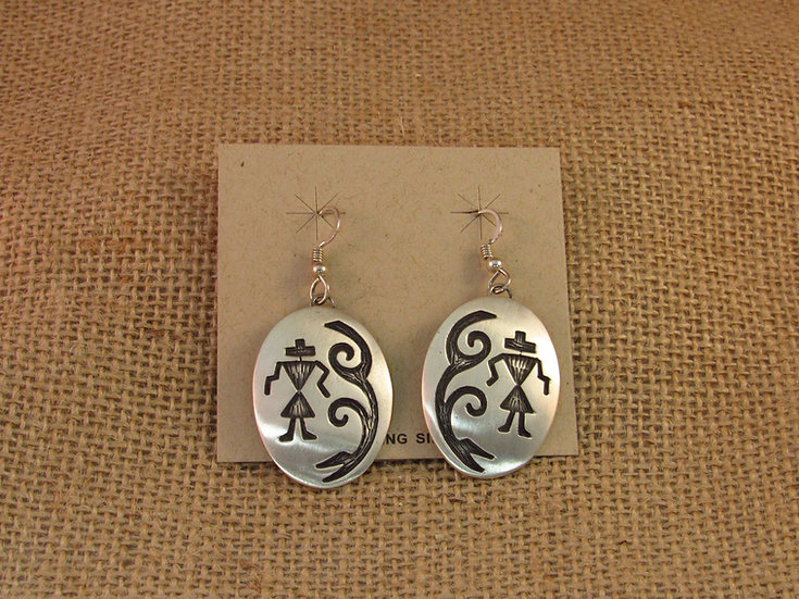 Navajo Sterling Silver Oval Brushed Silver Earrings