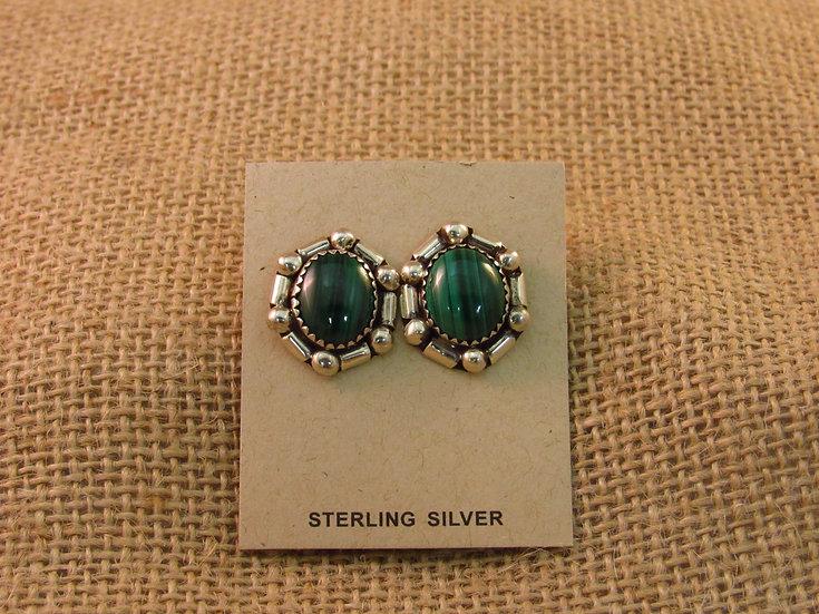 Navajo Green Malachite Sterling Silver Post Earrings
