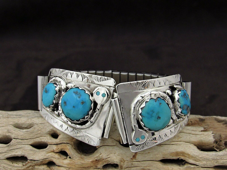 Sterling Silver Turquoise Snake Watch Band by Effie Calavaza