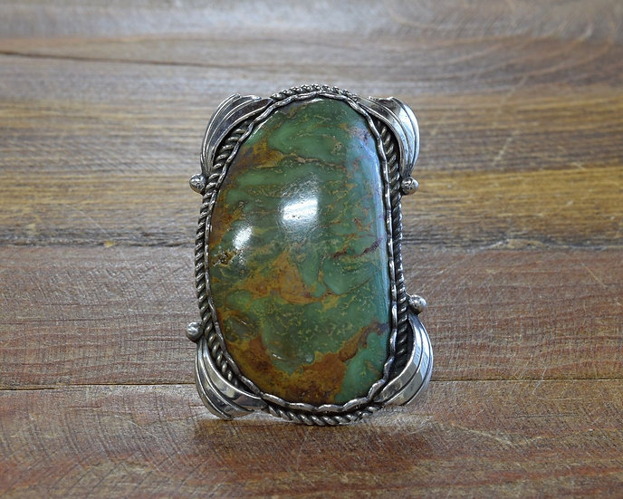 Massive Vintage Southwestern Sterling Silver And Turquoise Ring Size 11.25