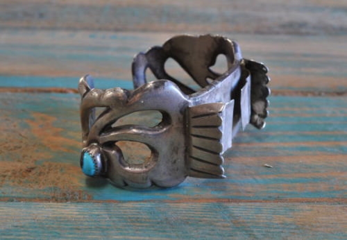 Vintage Navajo Sandcast Sterling Silver And Turquoise Watch Cuff