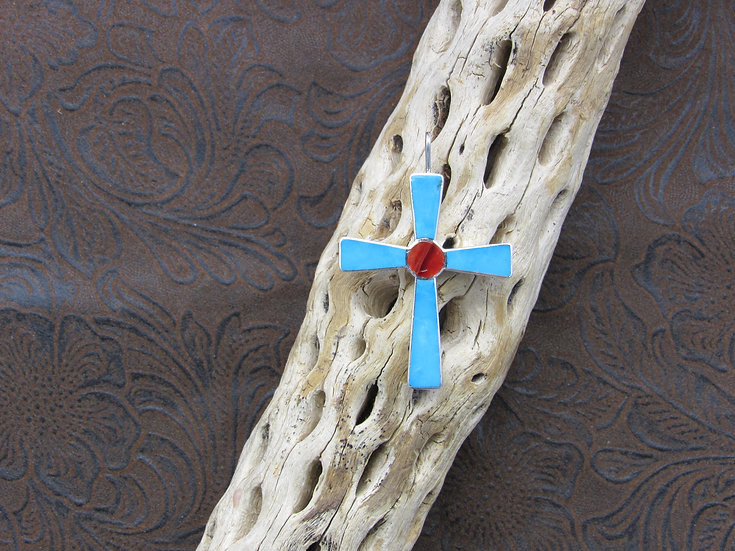 Southwestern Sterling Silver Inlaid Cross Pendant by Otto Lucio