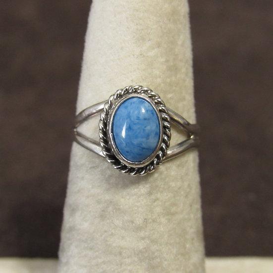 Jan Mariano Navajo Sterling Silver and Block Denim Lapis Ring Size 5