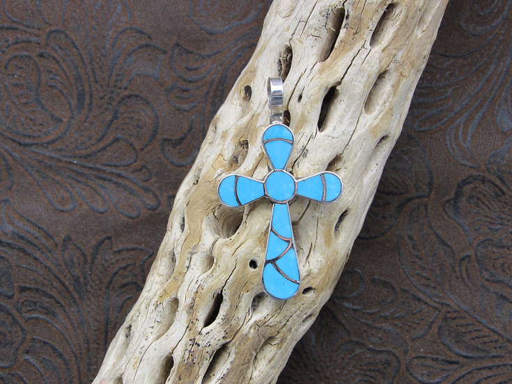 Southwestern Sterling Silver and Inlaid Turquoise Cross Pendant.