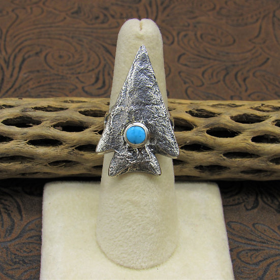 SSouthwest Sterling Silver and Turquoise Arrowhead Ring Size 6 3/4