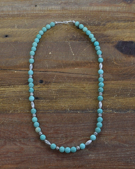 Navajo Sterling Silver and Turquoise Bead Necklace 22""