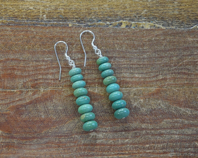 Contemporary Beaded Green Turquoise Dangle Earrings