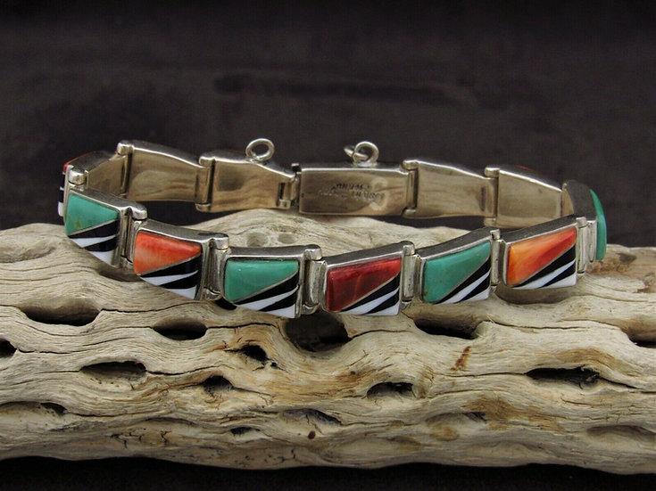 Navajo Multi-Color Inlay Link Bracelet by Calvin Begay