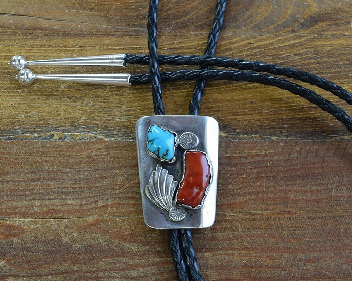Vintage Southwestern Turquoise and Coral Bolo Tie