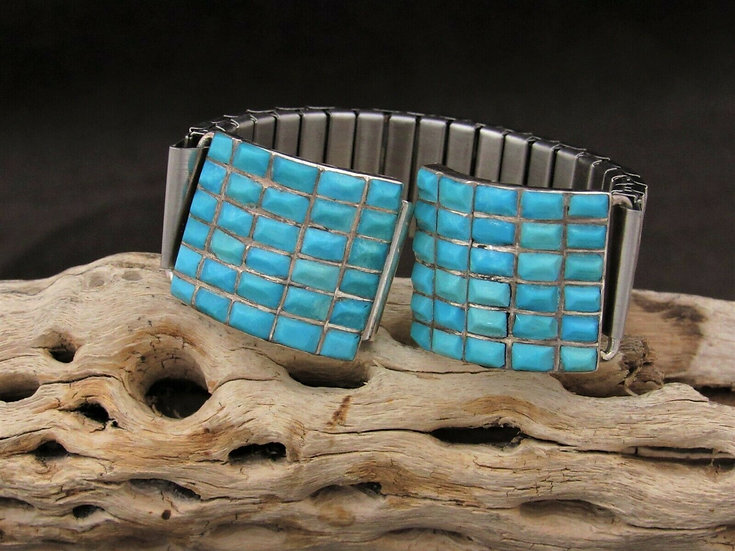 Sterling Silver Turquoise Inlay Watch Band