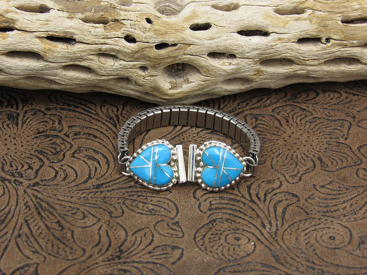 Sterling Silver Turquoise Inlay Heart Watch Band