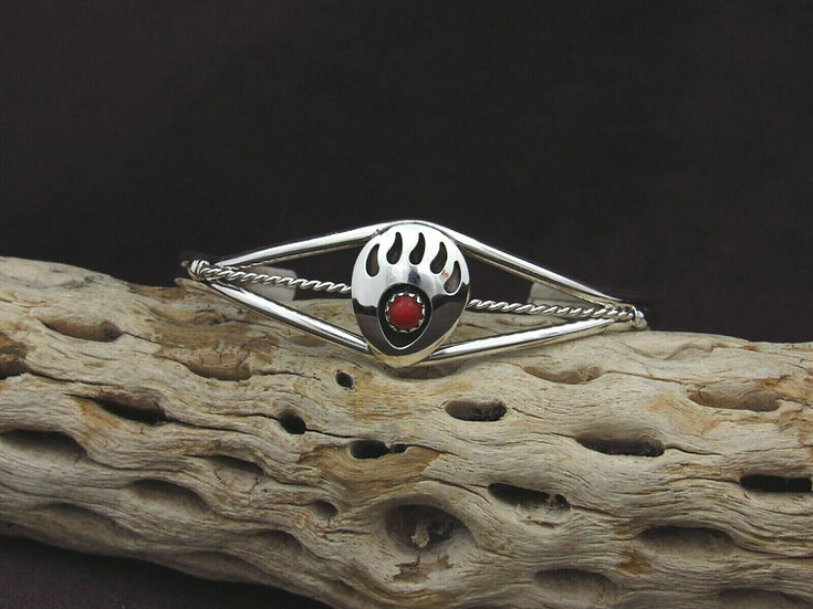 Sterling Silver Coral Bear Paw Cuff Bracelet