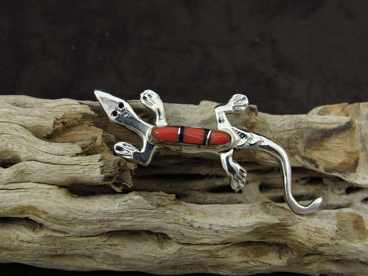 Sterling Silver Spiny Oyster Inlay Lizard Pin