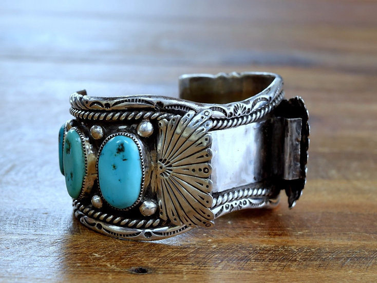 Vintage Navajo Sterling Silver and Turquoise Watch Cuff Bracelet