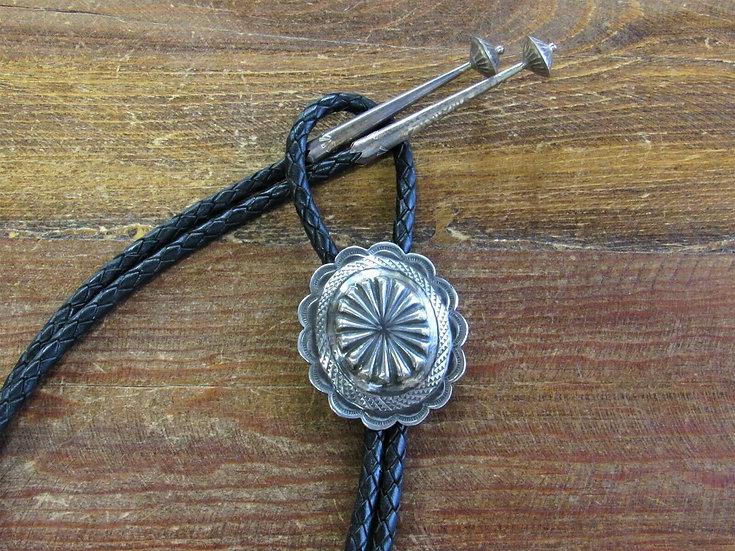Vintage Sterling Silver Concho Repoussé Bolo Tie
