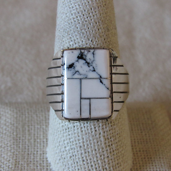 Navajo Ray Jack Sterling Silver and White Buffalo Men's Ring Size 9.75