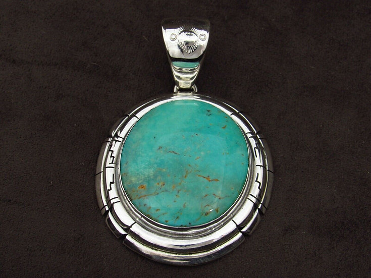 Sterling Silver Green Turquoise Pendant