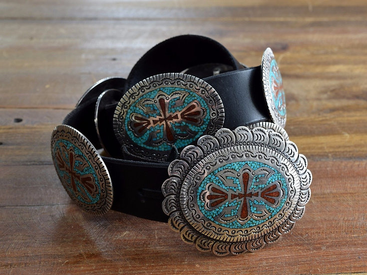 Vintage Navajo Turquoise and Coral Chip Inlay Sterling Silver Concho Belt