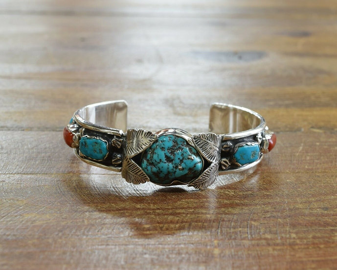 Vintage Sterling Silver Turquoise and Red Coral Cuff Bracelet
