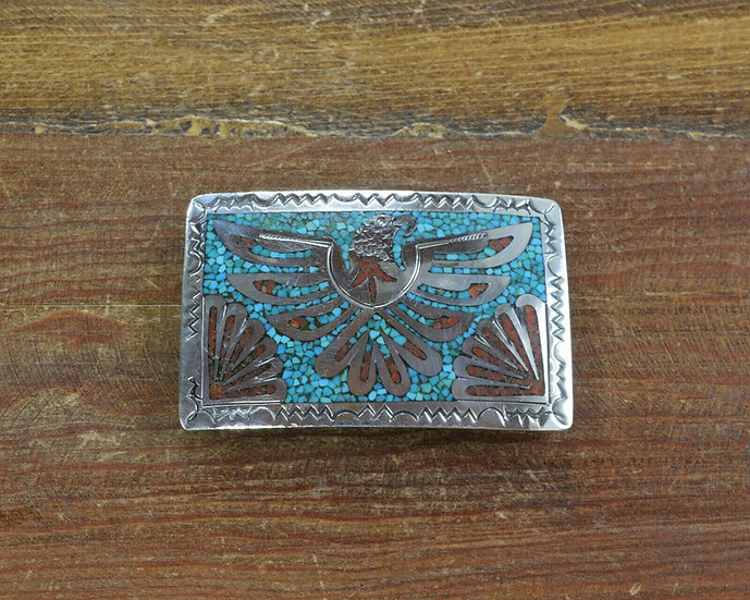 Vintage Southwestern Chip Inlay Eagle Belt Buckle
