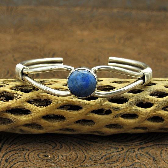 Southwestern Sterling Silver Round Denim Lapis Cuff Bracelet