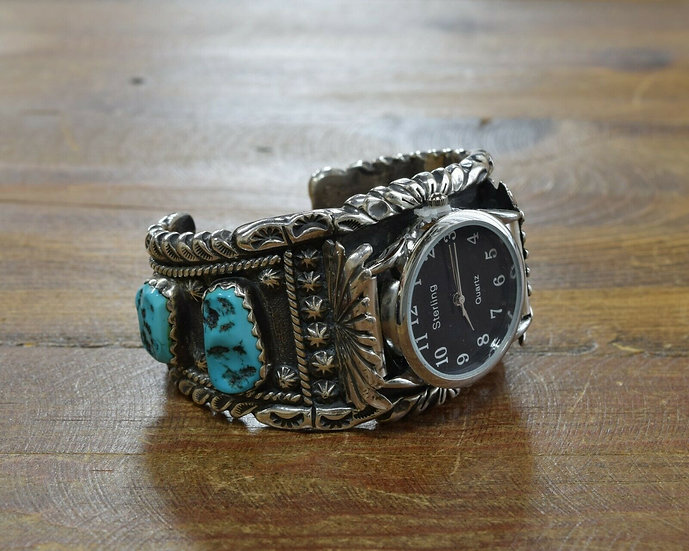 Heavy Vintage Sterling Silver Turquoise Watch Cuff
