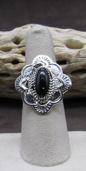 Stunning Onyx and Sterling Silver Ring Size 6 3/4